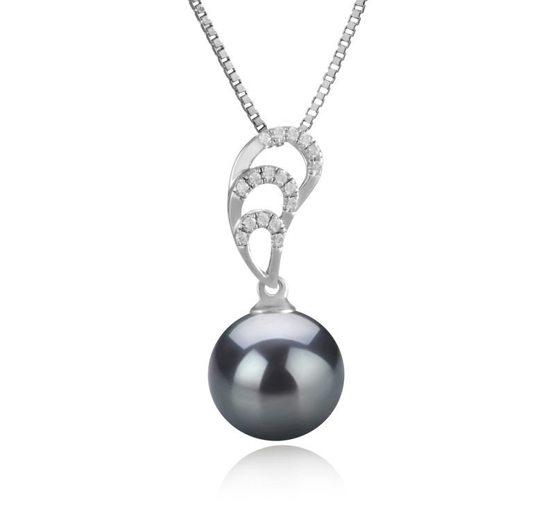 10-11mm AAA Quality Tahitian Cultured Pearl Pendant in Camille Black - #1