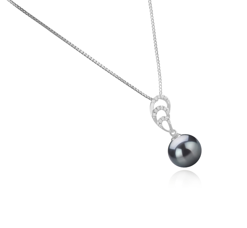 10-11mm AAA Quality Tahitian Cultured Pearl Pendant in Camille Black - #2