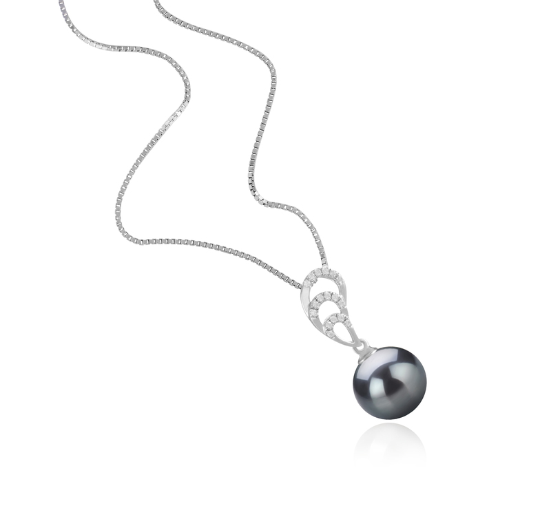 10-11mm AAA Quality Tahitian Cultured Pearl Pendant in Camille Black - #3