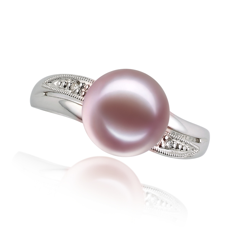 9-10mm AAAA Quality Freshwater Cultured Pearl Ring in Caroline Lavender - #3