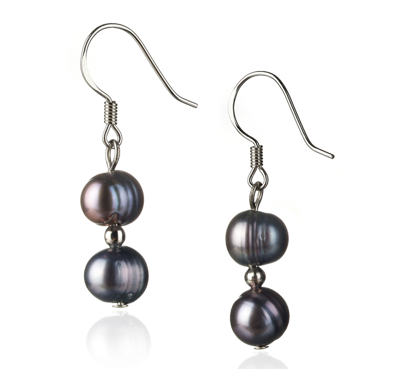 6-7mm A Quality Freshwater Cultured Pearl Earring Pair in Cerella Black - #1