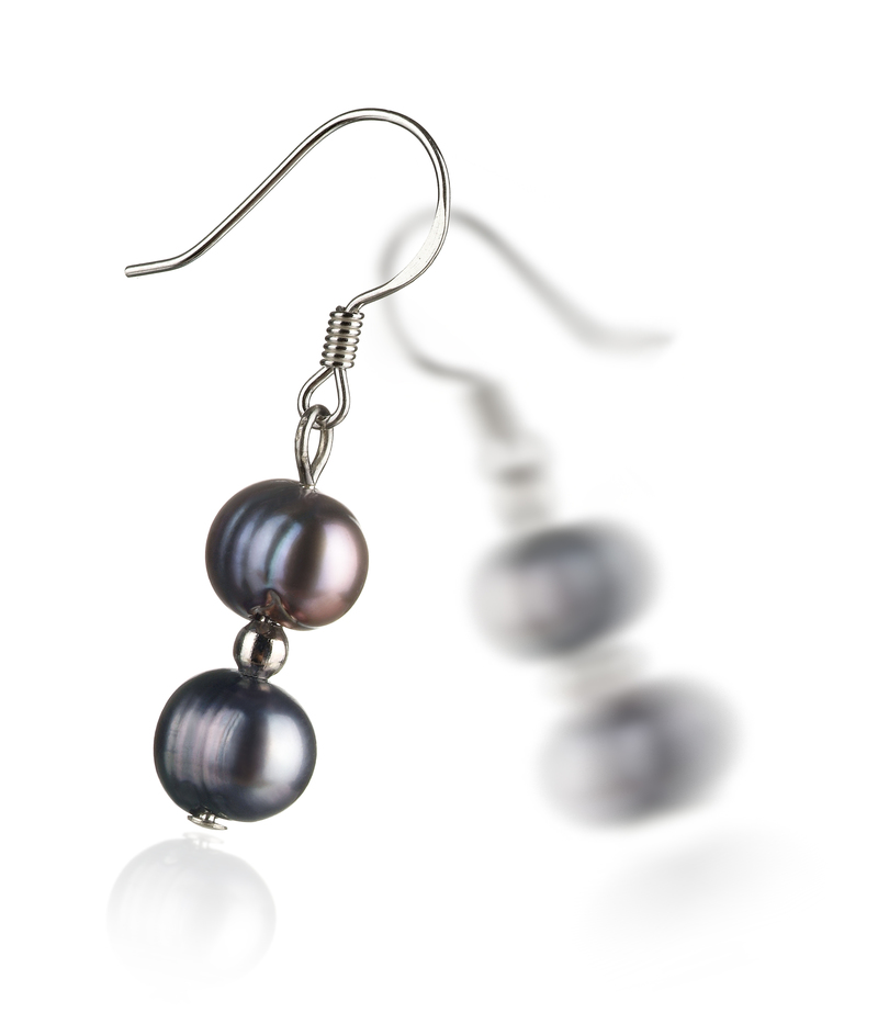 6-7mm A Quality Freshwater Cultured Pearl Earring Pair in Cerella Black - #2