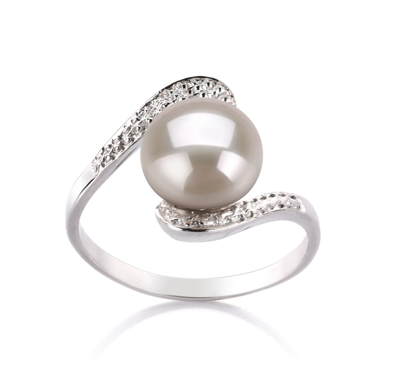 9-10mm AA Quality Freshwater Cultured Pearl Ring in Chantel White - #1