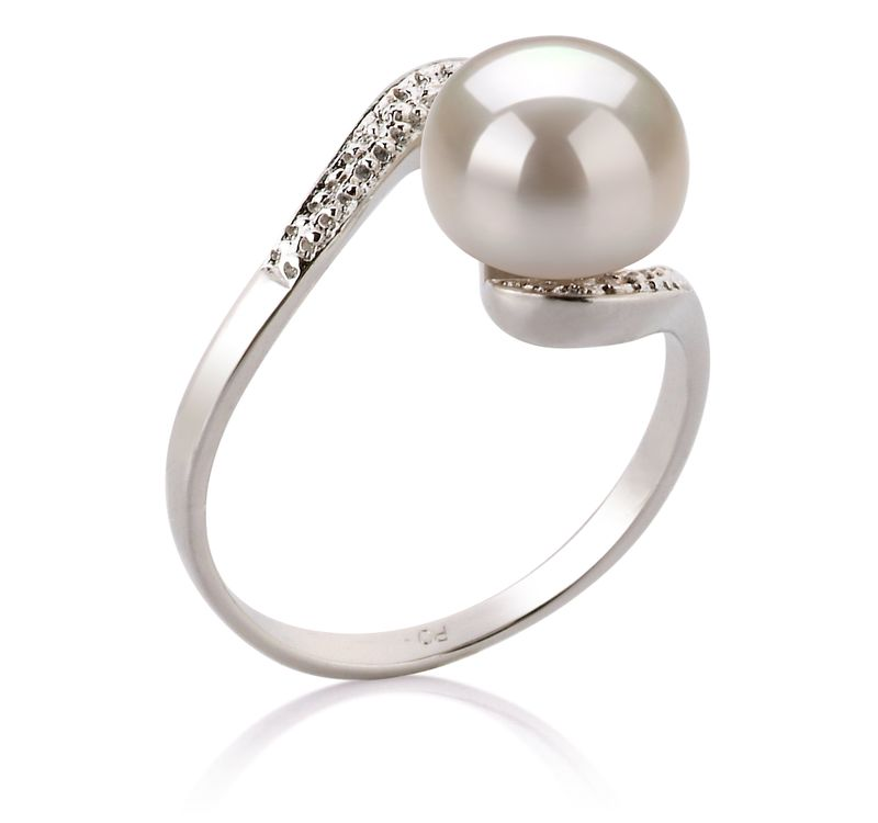 9-10mm AA Quality Freshwater Cultured Pearl Ring in Chantel White - #2