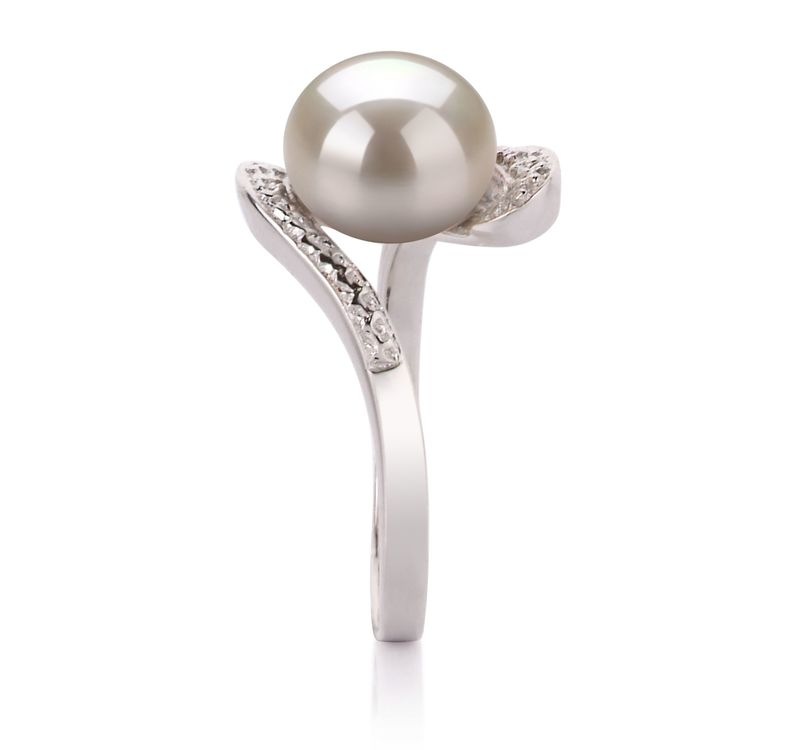 9-10mm AA Quality Freshwater Cultured Pearl Ring in Chantel White - #5