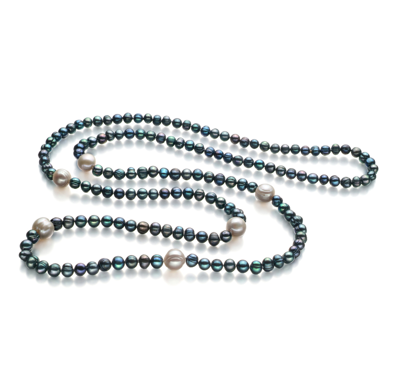 6-11mm A Quality Freshwater Cultured Pearl Necklace in Chloe Black - #1