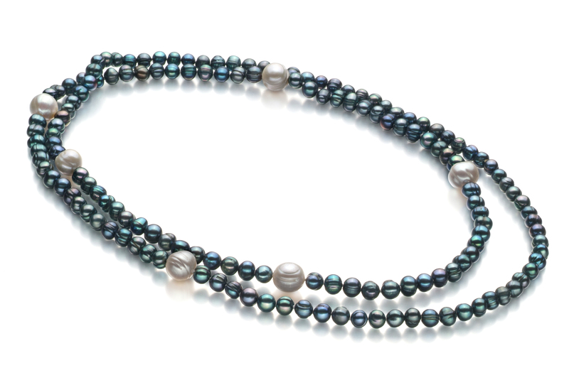 6-11mm A Quality Freshwater Cultured Pearl Necklace in Chloe Black - #2
