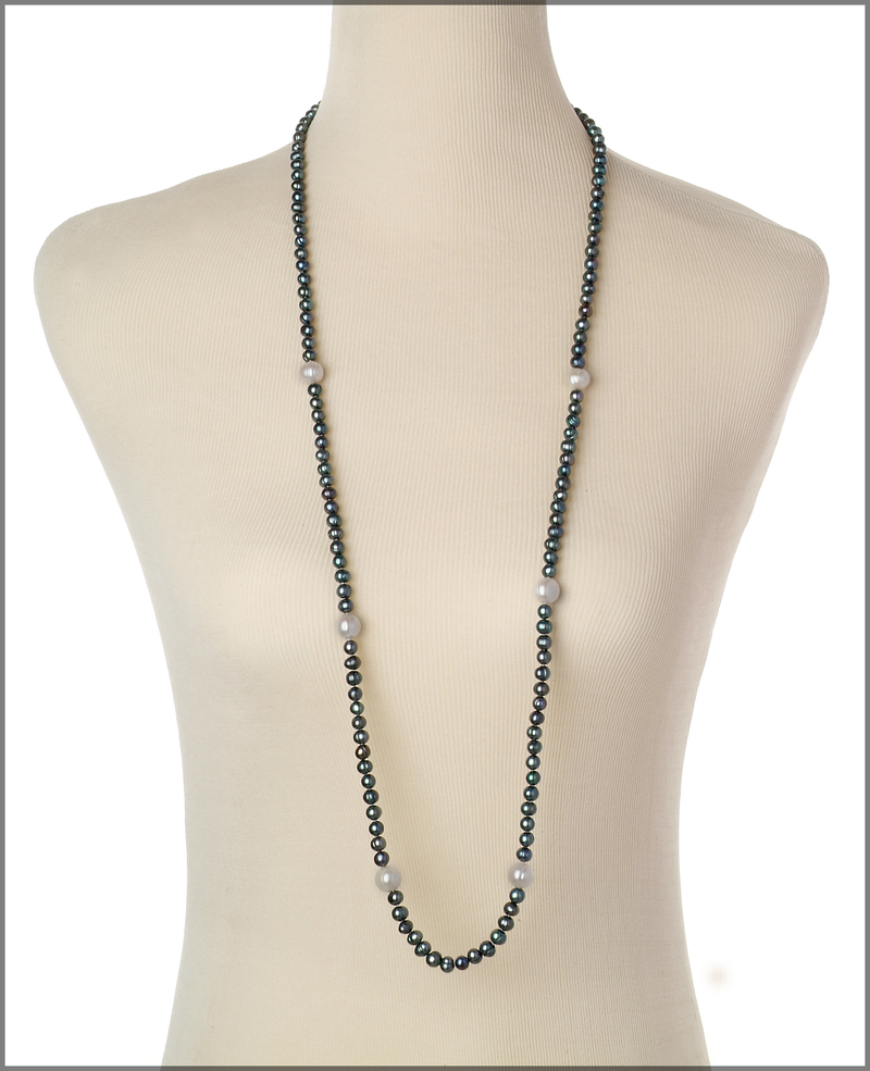 6-11mm A Quality Freshwater Cultured Pearl Necklace in Chloe Black - #3