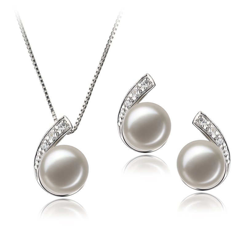 7-8mm AA Quality Freshwater Cultured Pearl Set in Claudia White - #1