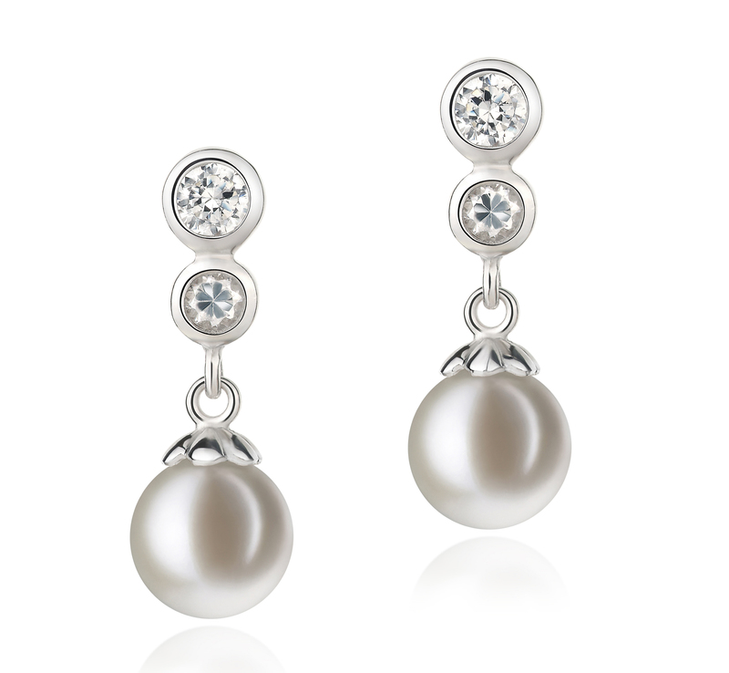 7-8mm AAAA Quality Freshwater Cultured Pearl Earring Pair in Colleen White - #1