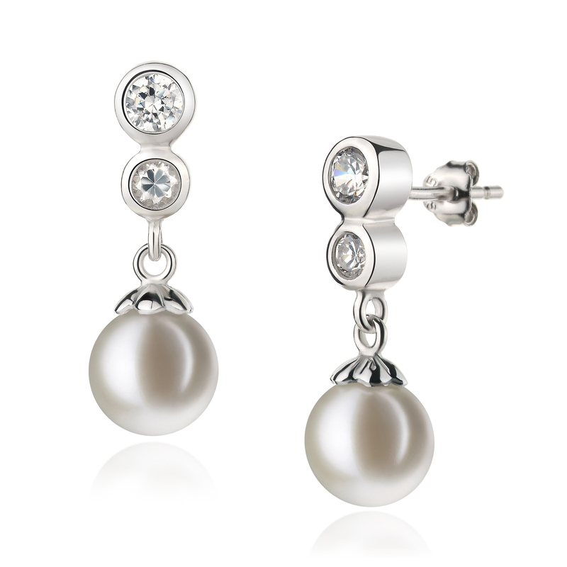 7-8mm AAAA Quality Freshwater Cultured Pearl Earring Pair in Colleen White - #2