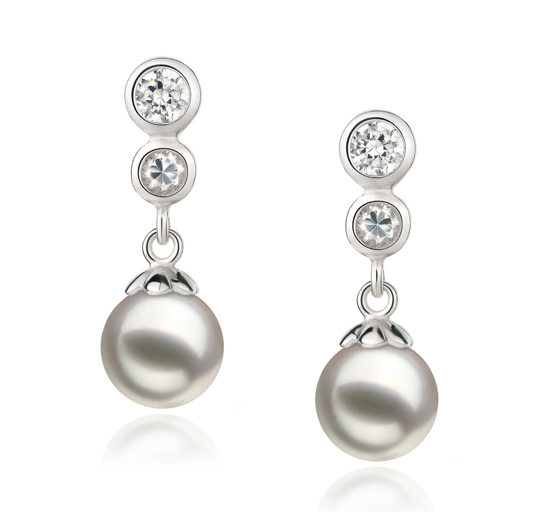 7-8mm AA Quality Japanese Akoya Cultured Pearl Earring Pair in Colleen White - #1