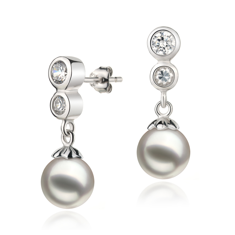 7-8mm AA Quality Japanese Akoya Cultured Pearl Earring Pair in Colleen White - #2