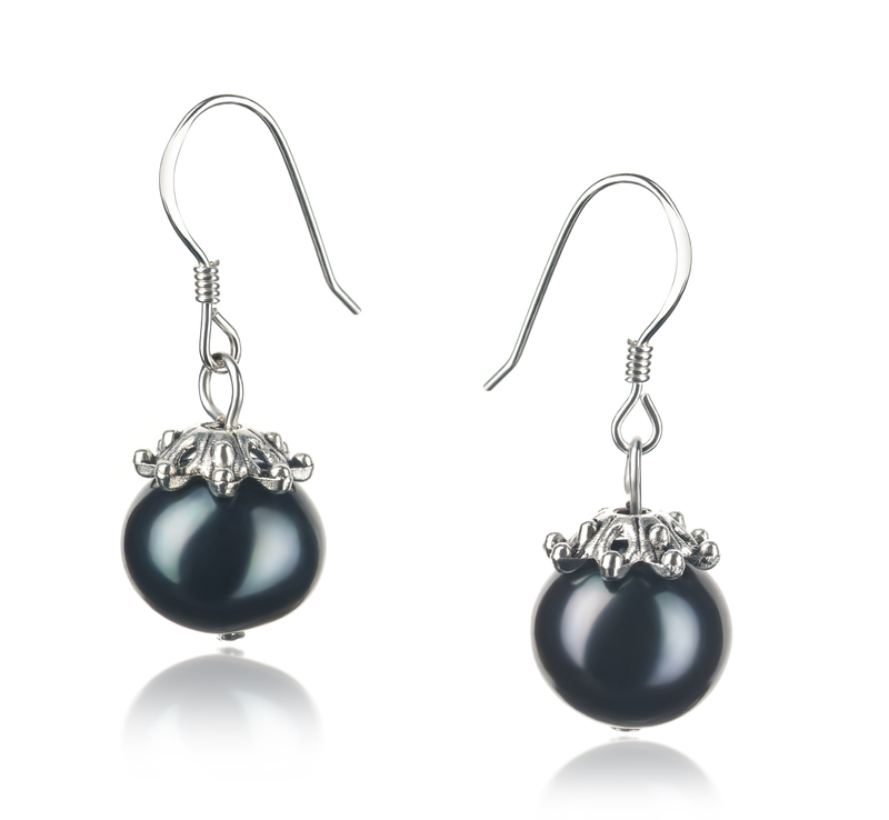 8-9mm A Quality Freshwater Cultured Pearl Earring Pair in Connor Black - #1