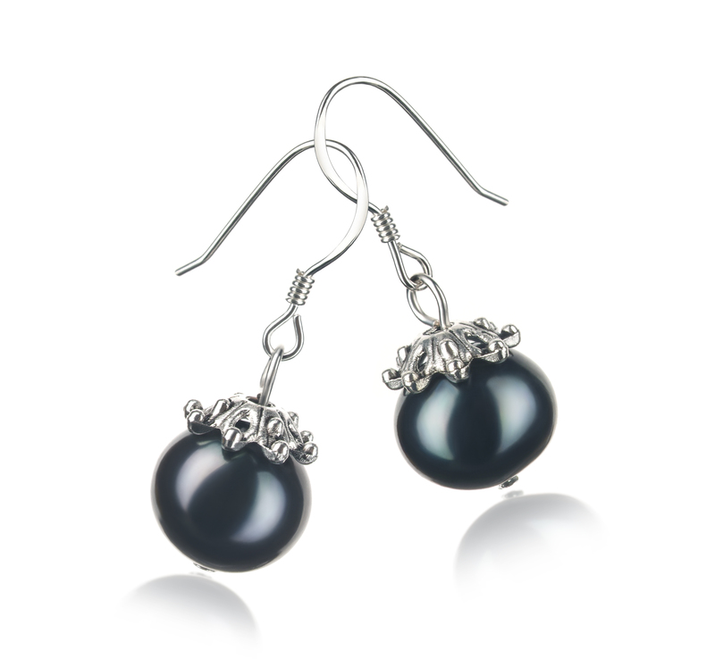 8-9mm A Quality Freshwater Cultured Pearl Earring Pair in Connor Black - #2