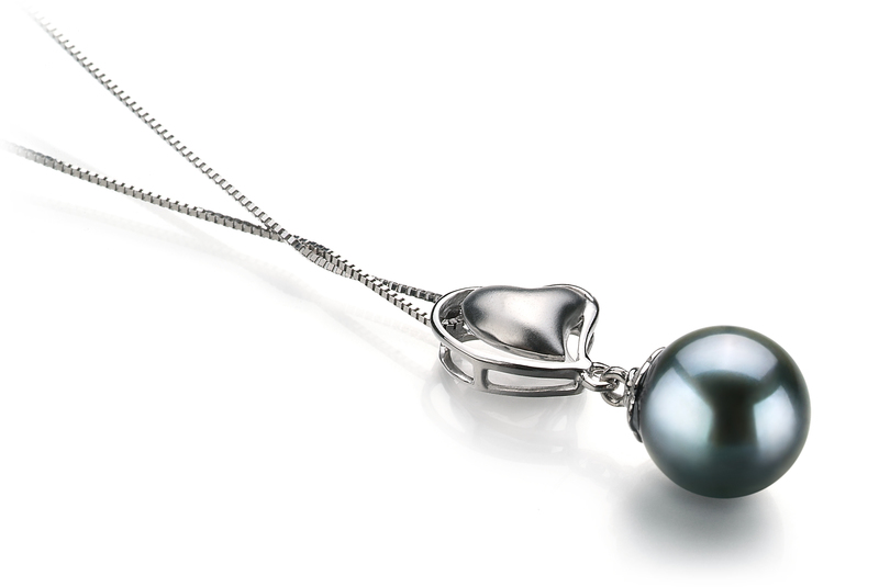 8-9mm AA Quality Japanese Akoya Cultured Pearl Pendant in Cora Black - #3