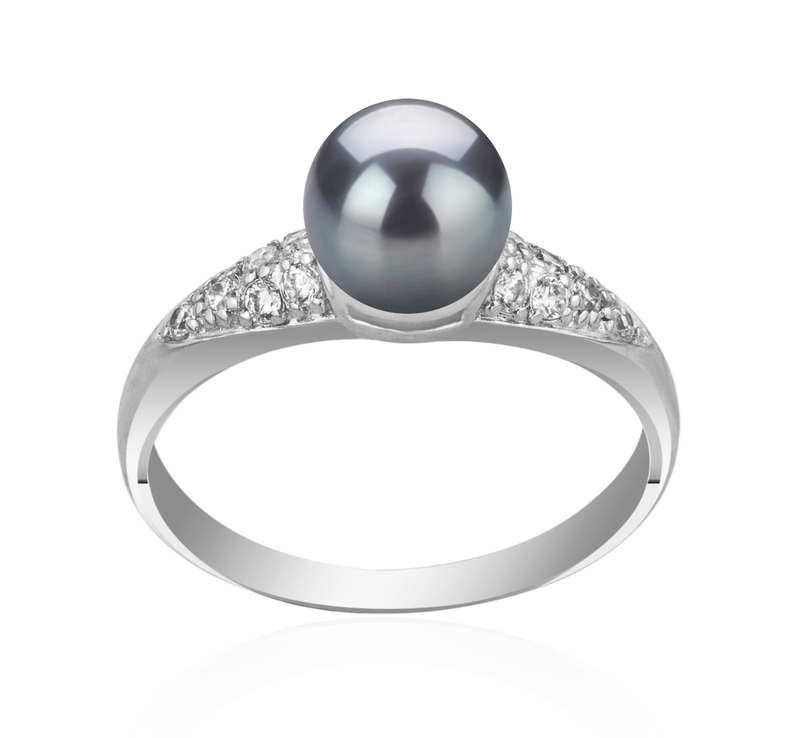 6-7mm AAAA Quality Freshwater Cultured Pearl Ring in Cristy Black - #1