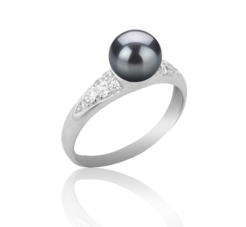 6-7mm AAAA Quality Freshwater Cultured Pearl Ring in Cristy Black - #2