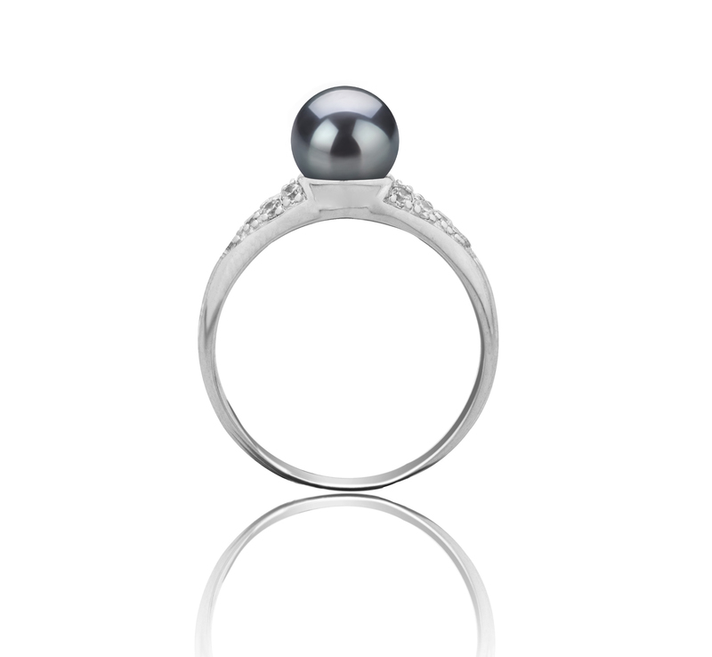 6-7mm AAAA Quality Freshwater Cultured Pearl Ring in Cristy Black - #3