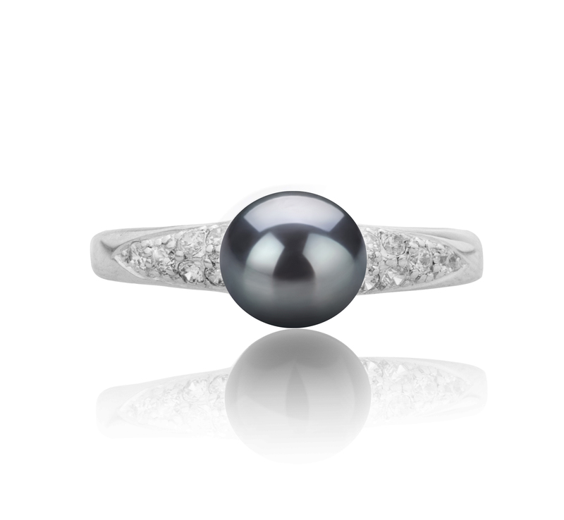 6-7mm AAAA Quality Freshwater Cultured Pearl Ring in Cristy Black - #4
