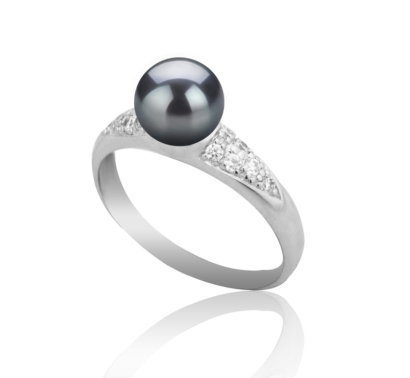 6-7mm AAAA Quality Freshwater Cultured Pearl Ring in Cristy Black - #5