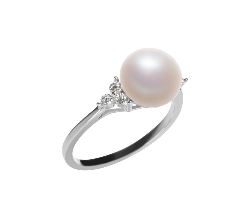 8-9mm AAA Quality Freshwater Cultured Pearl Ring in Dacey White - #2