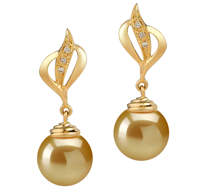 10-11mm AAA Quality South Sea Cultured Pearl Earring Pair in Damica Gold - #1