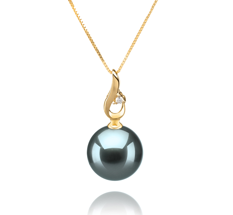 10-11mm AAA Quality Tahitian Cultured Pearl Pendant in Darlene Black - #1