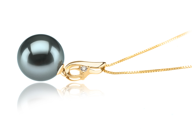 10-11mm AAA Quality Tahitian Cultured Pearl Pendant in Darlene Black - #3