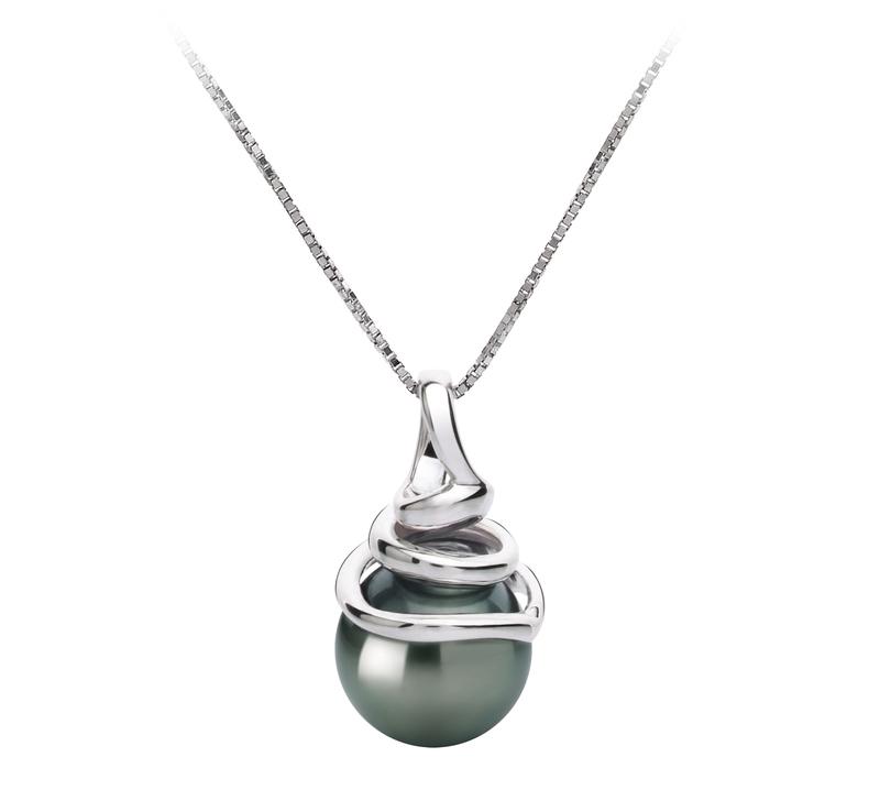 8-9mm AAA Quality Tahitian Cultured Pearl Pendant in Demetria Black - #1