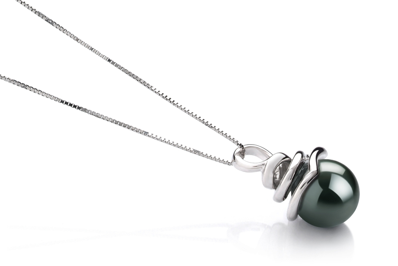 8-9mm AAA Quality Tahitian Cultured Pearl Pendant in Demetria Black - #2