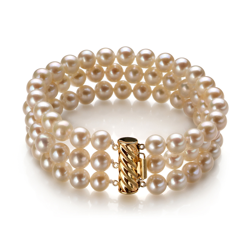 6-7mm AA Quality Freshwater Cultured Pearl Bracelet in Dianna White - #1