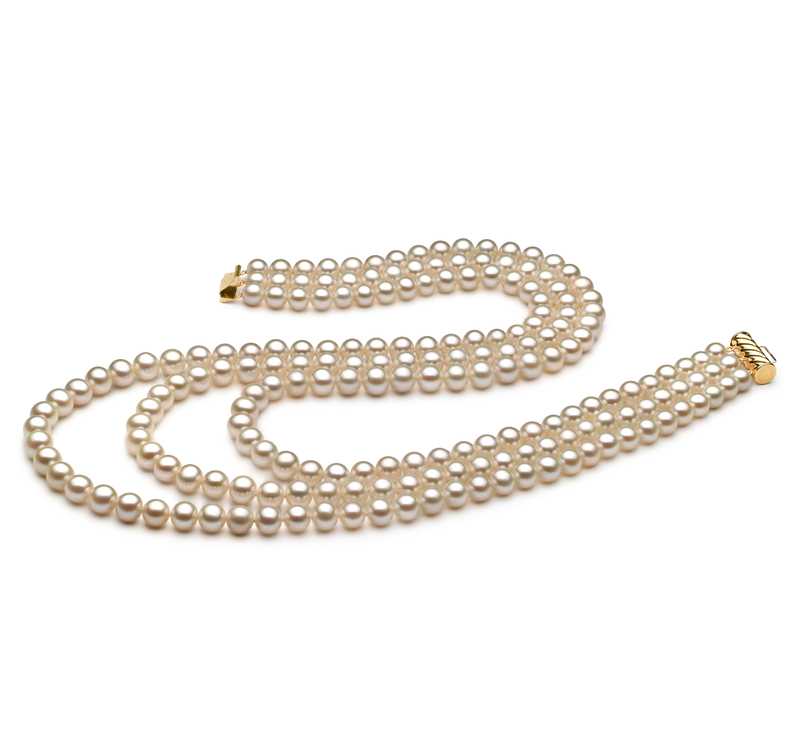 6-7mm AA Quality Freshwater Cultured Pearl Necklace in Dianna White - #1