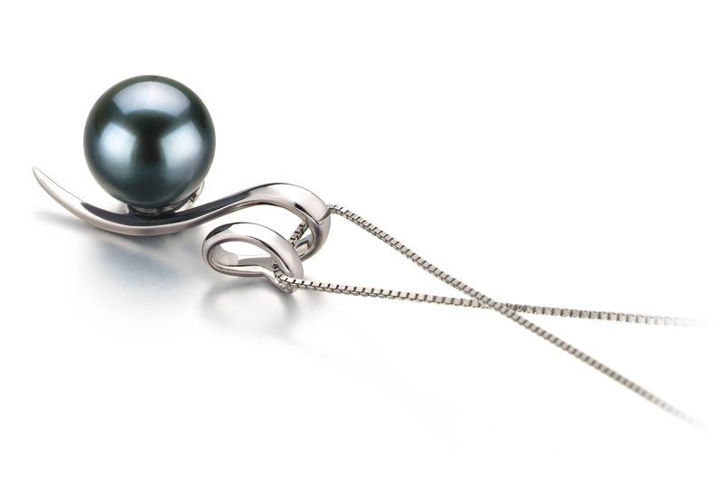 8-9mm AA Quality Japanese Akoya Cultured Pearl Pendant in Dionne Black - #3