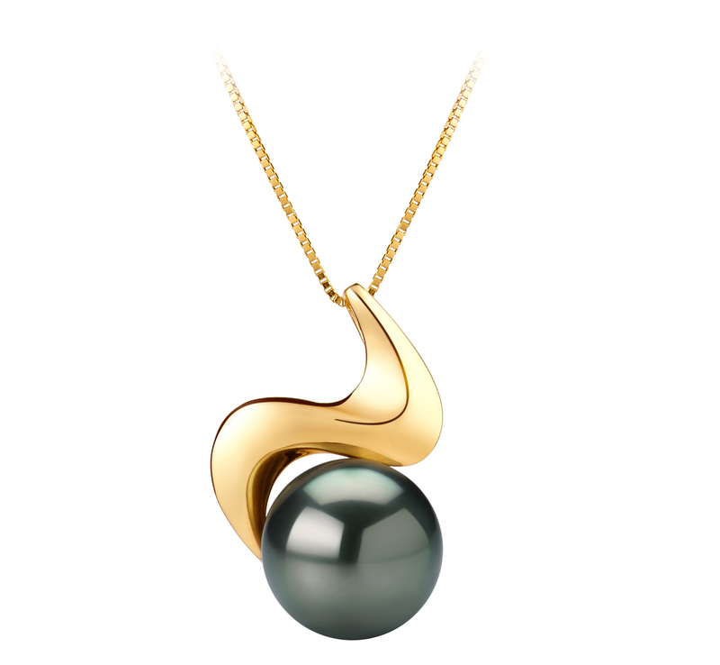 10-10.5mm AAA Quality Tahitian Cultured Pearl Pendant in Dominique Black - #1