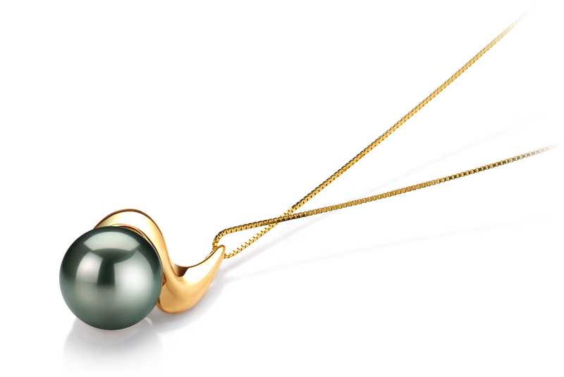 10-10.5mm AAA Quality Tahitian Cultured Pearl Pendant in Dominique Black - #3