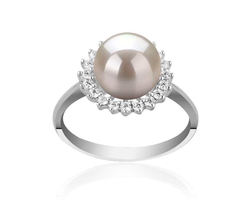 8-9mm AAAA Quality Freshwater Cultured Pearl Ring in Dreama White - #1