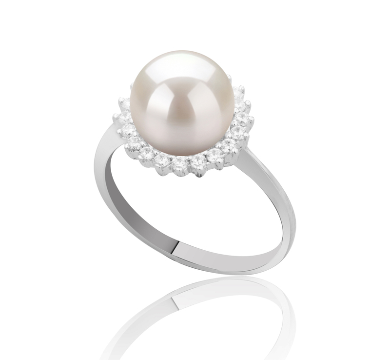 8-9mm AAAA Quality Freshwater Cultured Pearl Ring in Dreama White - #2