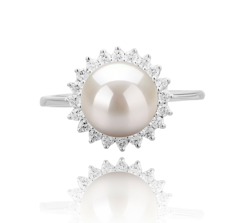 8-9mm AAAA Quality Freshwater Cultured Pearl Ring in Dreama White - #3
