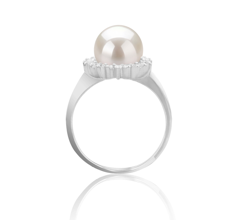 8-9mm AAAA Quality Freshwater Cultured Pearl Ring in Dreama White - #4