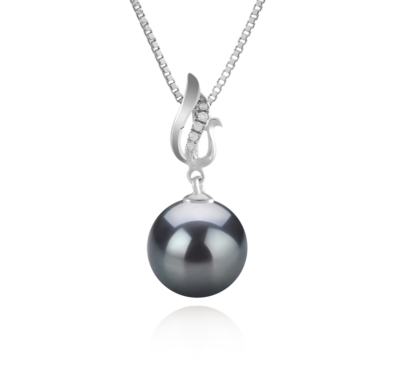 9-10mm AAA Quality Tahitian Cultured Pearl Pendant in Edna Black - #1