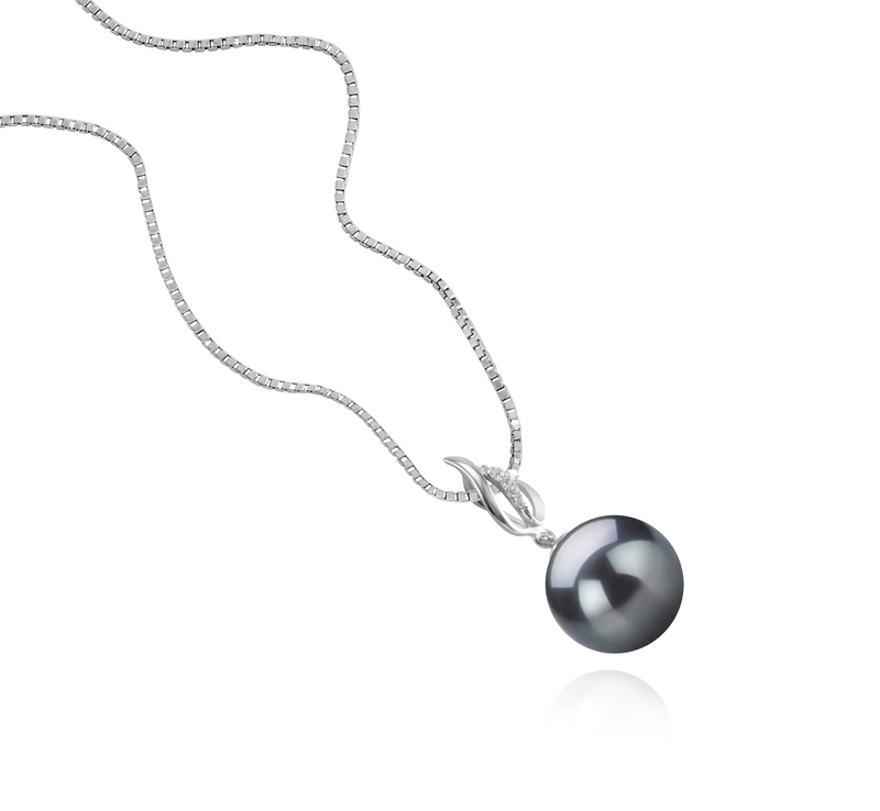9-10mm AAA Quality Tahitian Cultured Pearl Pendant in Edna Black - #2