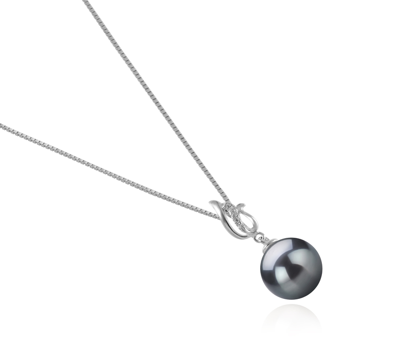 9-10mm AAA Quality Tahitian Cultured Pearl Pendant in Edna Black - #3