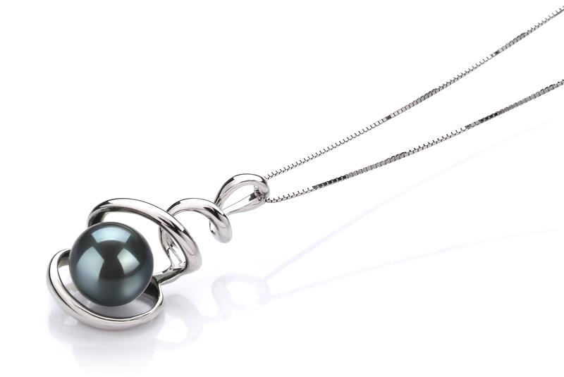 8-9mm AAA Quality Japanese Akoya Cultured Pearl Pendant in Eldova Black - #2