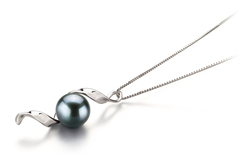 7-8mm AA Quality Japanese Akoya Cultured Pearl Pendant in Elva Black - #3