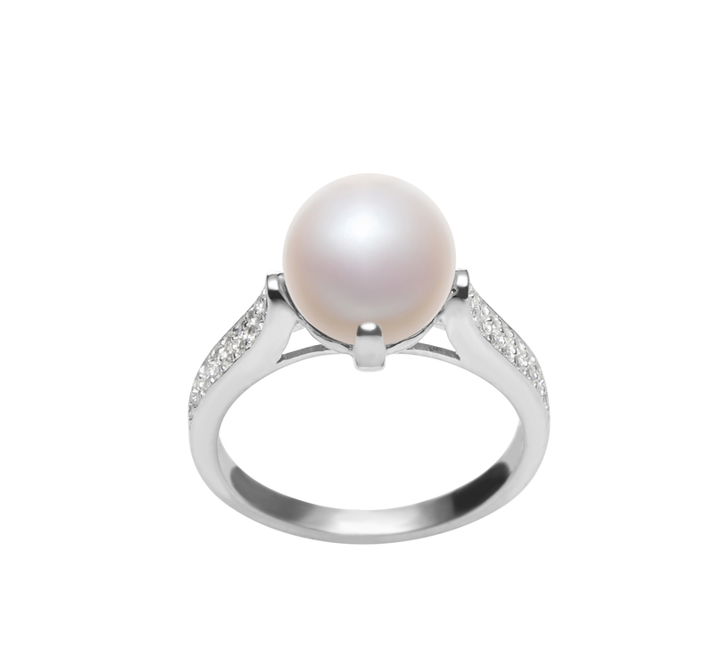 8-9mm AAA Quality Freshwater Cultured Pearl Ring in Erica White - #1