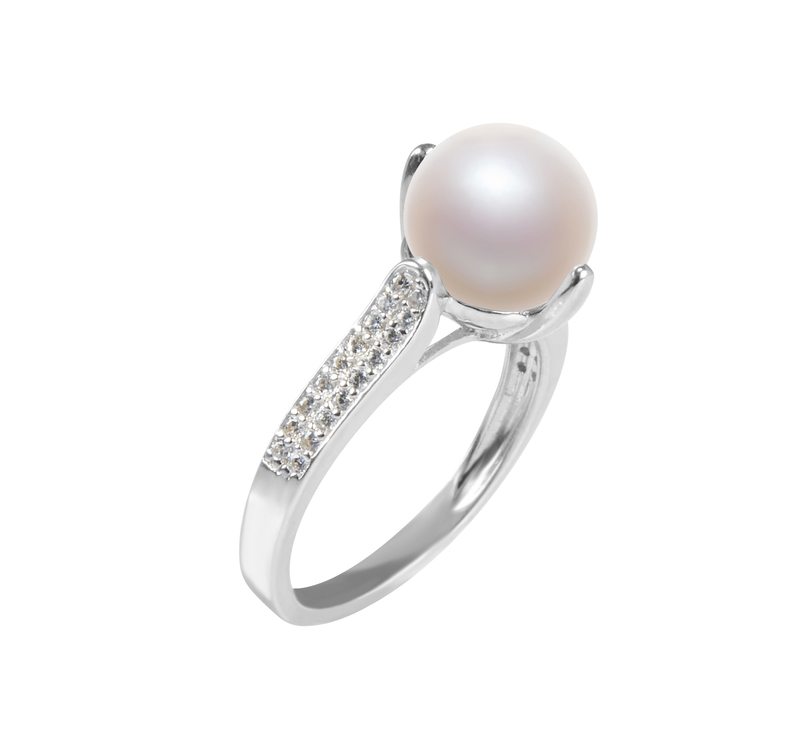 8-9mm AAA Quality Freshwater Cultured Pearl Ring in Erica White - #2