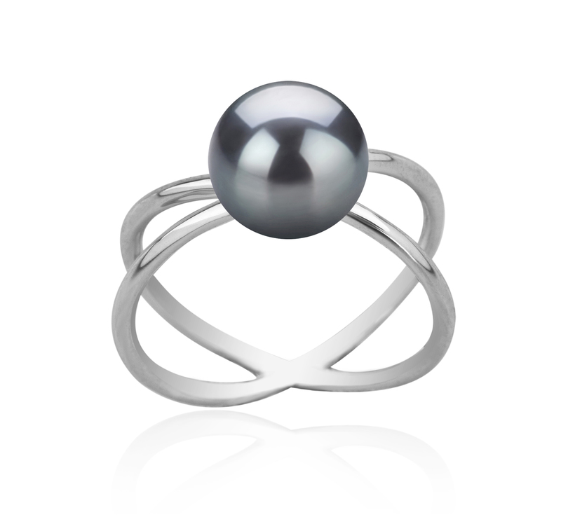 8-9mm AAA Quality Freshwater Cultured Pearl Ring in Esty Black - #1