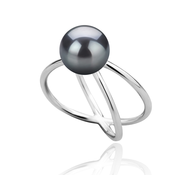 8-9mm AAA Quality Freshwater Cultured Pearl Ring in Esty Black - #2