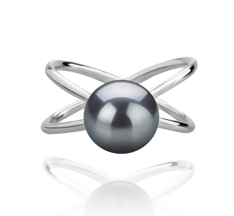 8-9mm AAA Quality Freshwater Cultured Pearl Ring in Esty Black - #3